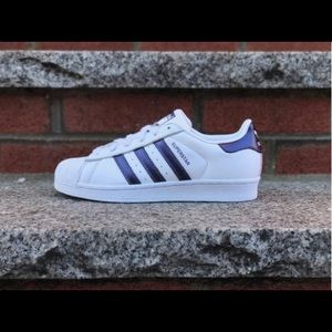 Adidas Women's Superstar White/Purple Stripe NIB